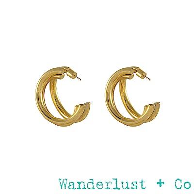 Wanderlust+Co Infusion系列 Faye三環耳環 金色