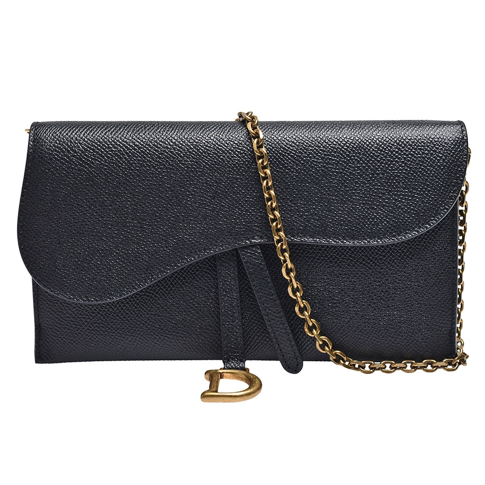 Dior 經典SADDLE系列顆粒小牛皮手拿/斜背包(黑)
