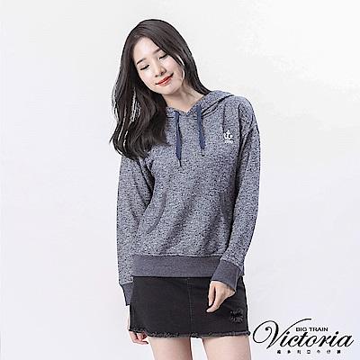 Victoria 落肩休閒長袖帽T-女-深藍