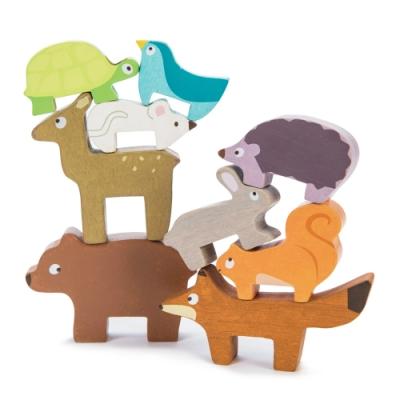 英國 Le Toy Van- Petilou系列啟蒙玩具系列-森林動物疊疊平衡啟蒙玩具