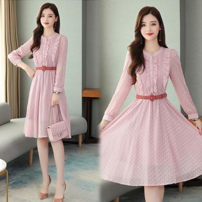【韓國K.W.】(預購)韓式名媛粉漾花彩蕾絲雪紡洋裝-1色