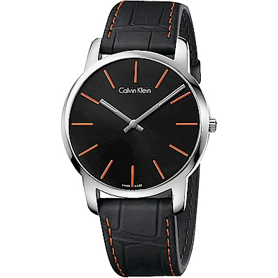 Calvin Klein CK City 都會紳士手錶-黑x橘時標/43mm