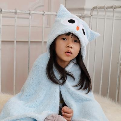 【MORINO摩力諾】動物造型速乾兒童連帽罩袍 披風 抱枕(貓頭鷹) 附提袋