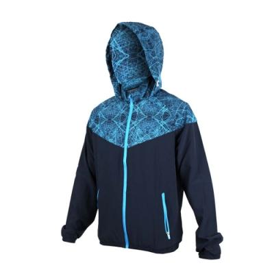 SOFO 男彈力布外套-連帽外套 慢跑 路跑 丈青水藍