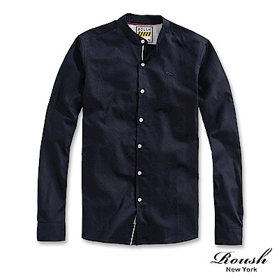 Roush 織帶設計亨利領牛津布襯衫(2色)