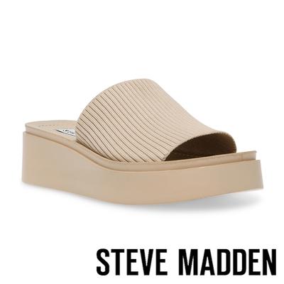 STEVE MADDEN-BALANCED 針織厚底平底拖鞋-米杏色