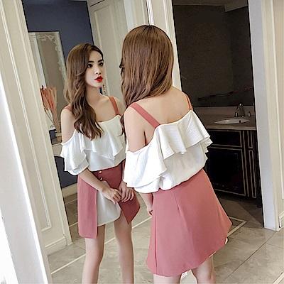 DABI 韓國風露肩一字領荷葉邊雪紡上衣套裝不規則裙套裝短袖裙裝