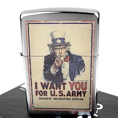 ZIPPO 美系~U.S. Army-二戰美軍徵兵海報圖案設計打火機