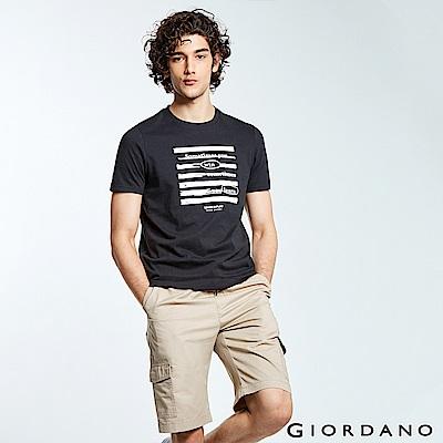 GIORDANO 男裝LEARN N PLAY系列印花短袖T恤-31 標誌黑