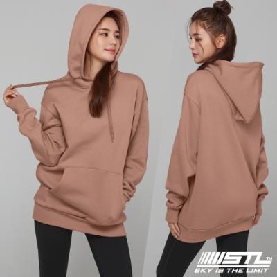 STL YOGA 韓國瑜珈 METRO SEMI overfit hoodie 運動休閒 純色連帽刷毛重磅大帽T 乾燥玫瑰DryRose