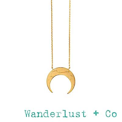 Wanderlust+Co 澳洲品牌 金色射手座項鍊 鑲鑽新月項鍊 SAGITTARIUS