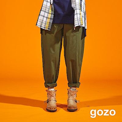 gozo 不對襯口袋棉質窄管休閒褲(深藍)