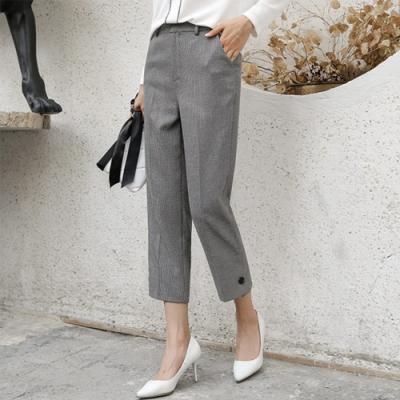 設計所在Lady-九分休閒高腰寬鬆格子哈倫褲(二色S-2XL可選)