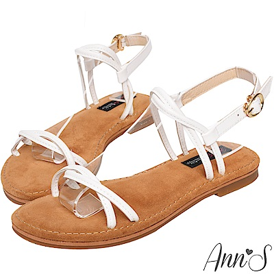 Ann'S水洗牛皮-雙扭結寬版平底涼鞋-白
