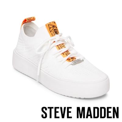 STEVE MADDEN-BRITTA 街頭豔橘粗帶厚底休閒鞋-白色
