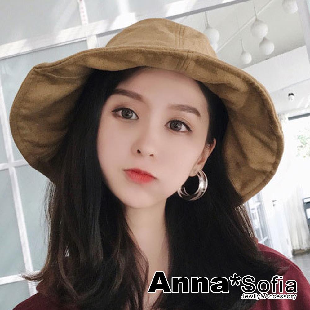 AnnaSofia 拼片絨面寬簷 軟式盆帽漁夫帽(駝系)