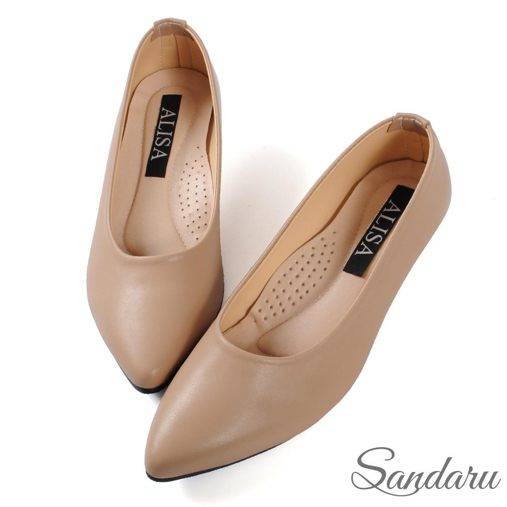 山打努SANDARU-OL工作鞋 穩定好走軟底尖頭楔型鞋-褐