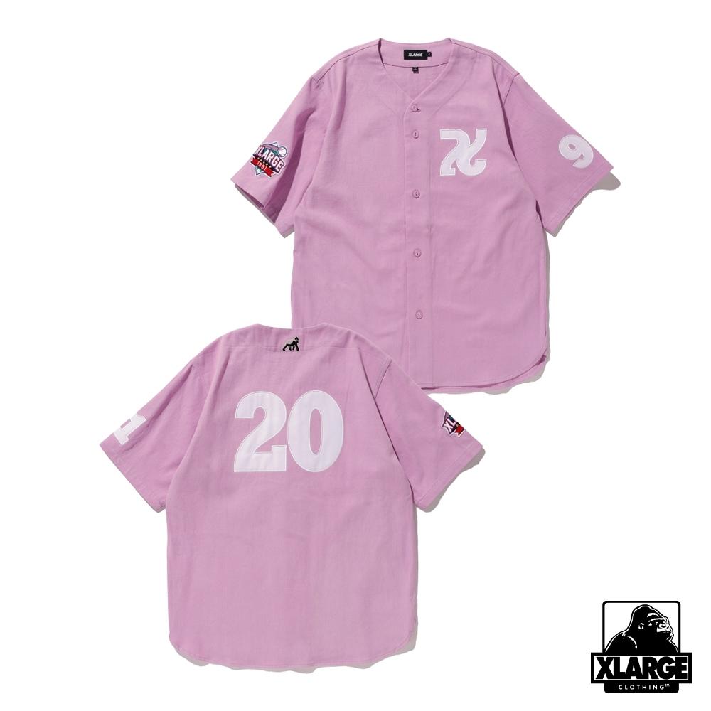 XLARGE BASEBALL SHIRT刺繡棒球襯衫-紫