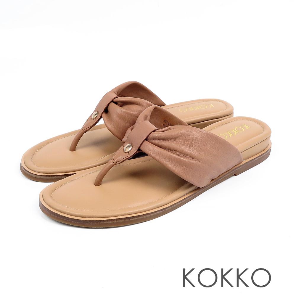KOKKO簡約風尚抓皺夾腳涼拖鞋奶茶棕