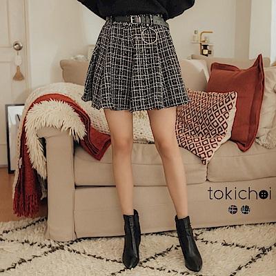 東京著衣 經典不敗毛呢附皮帶格紋短裙-S.M(共二色)