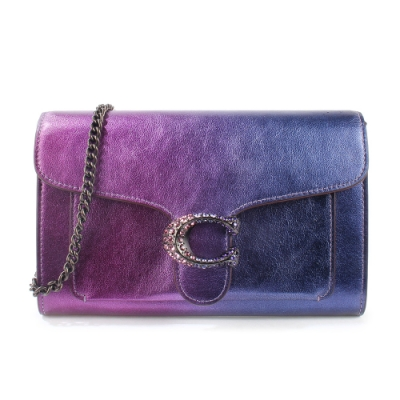 COACH Tabby璀璨夜空金屬皮革亮鑽C字LOGO手拿斜背晚宴包-漸層紫色