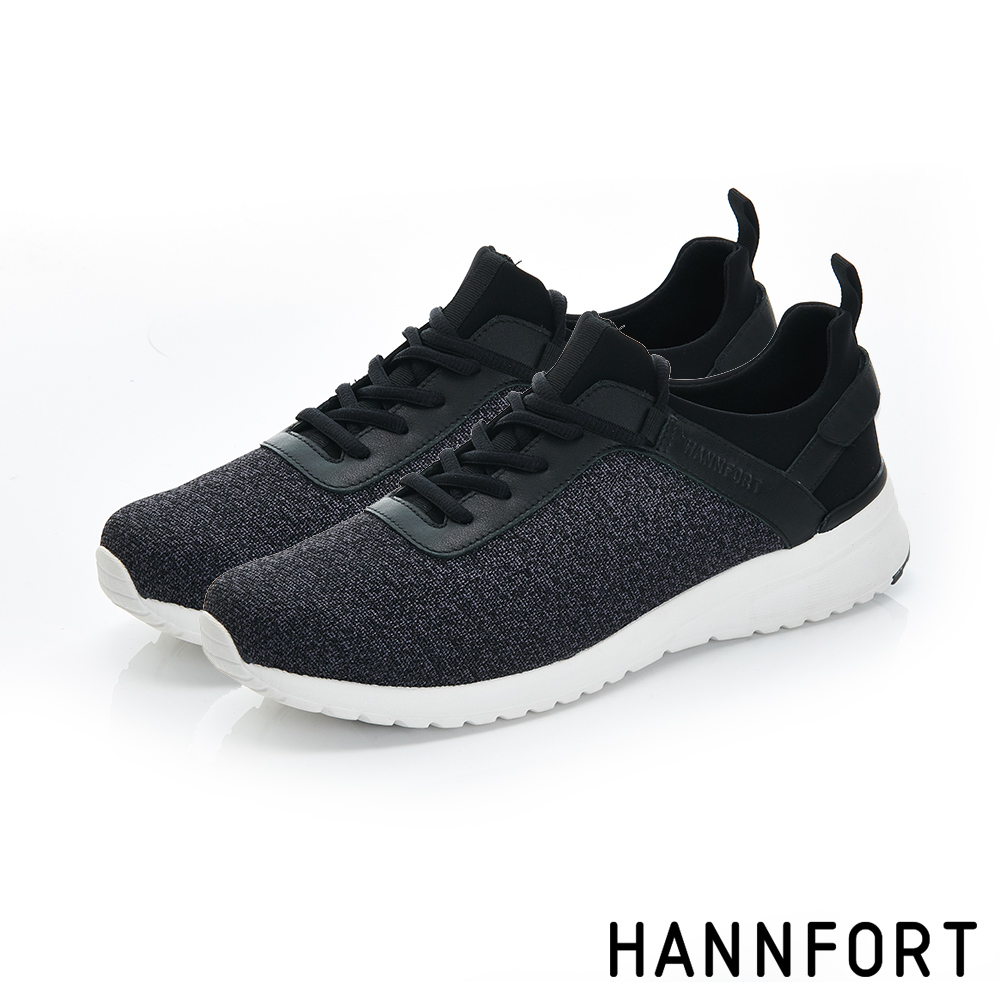 HANNFORT RS8網布魔鬼氈氣墊休閒鞋-男-獨特黑