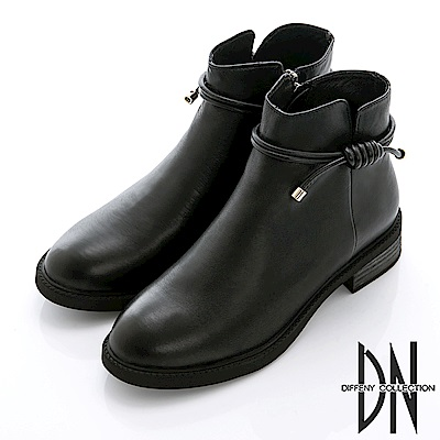 DN 魅力優雅 百搭牛皮繩結造型短靴-黑