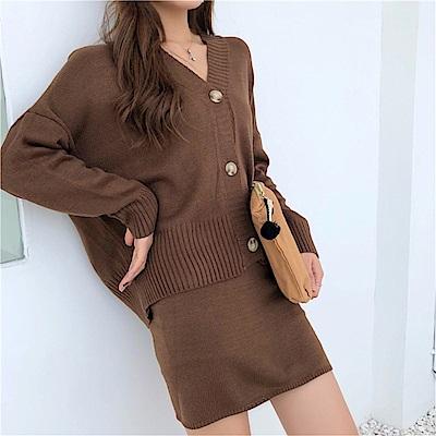 DABI 韓系慵懶風針織包臀套裝長袖裙裝