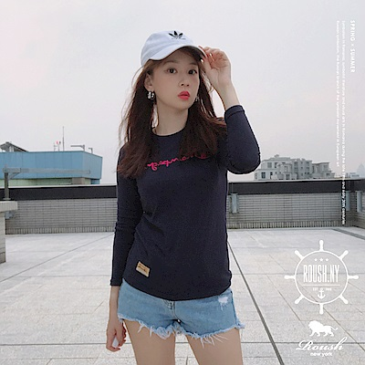 Roush 女生翻玩CHAMPION立體刺繡長TEE(4色)