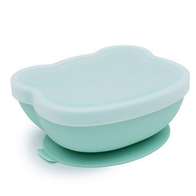 澳洲We Might Be Tiny 矽膠防滑吸盤碗熊寶寶-薄荷綠(附上蓋)