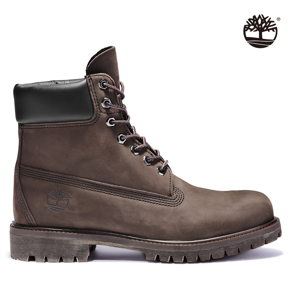Timberland 男款中棕色磨砂革防潑水經典六吋靴|10001