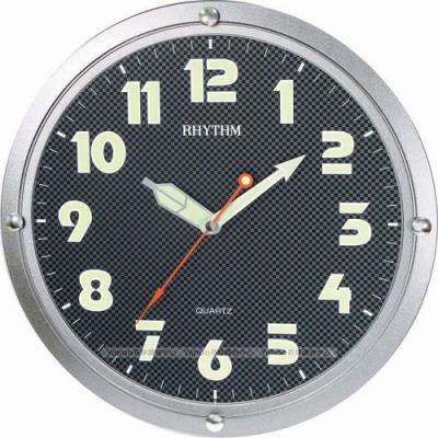 RHYTHM日本麗聲 時尚科技感造型螢光面板超靜音掛鐘/31cm