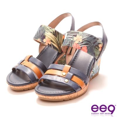 ee9 繽紛夏日質感簡約露趾楔型跟涼鞋  藍色-562372  70
