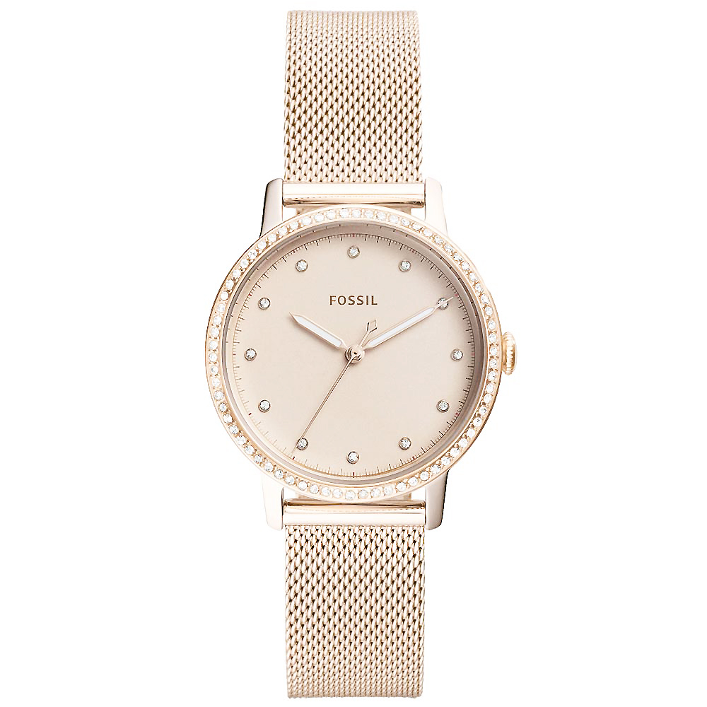 FOSSIL Neely晶鑽風尚米蘭帶手錶 (ES4364)-玫瑰金/34mm