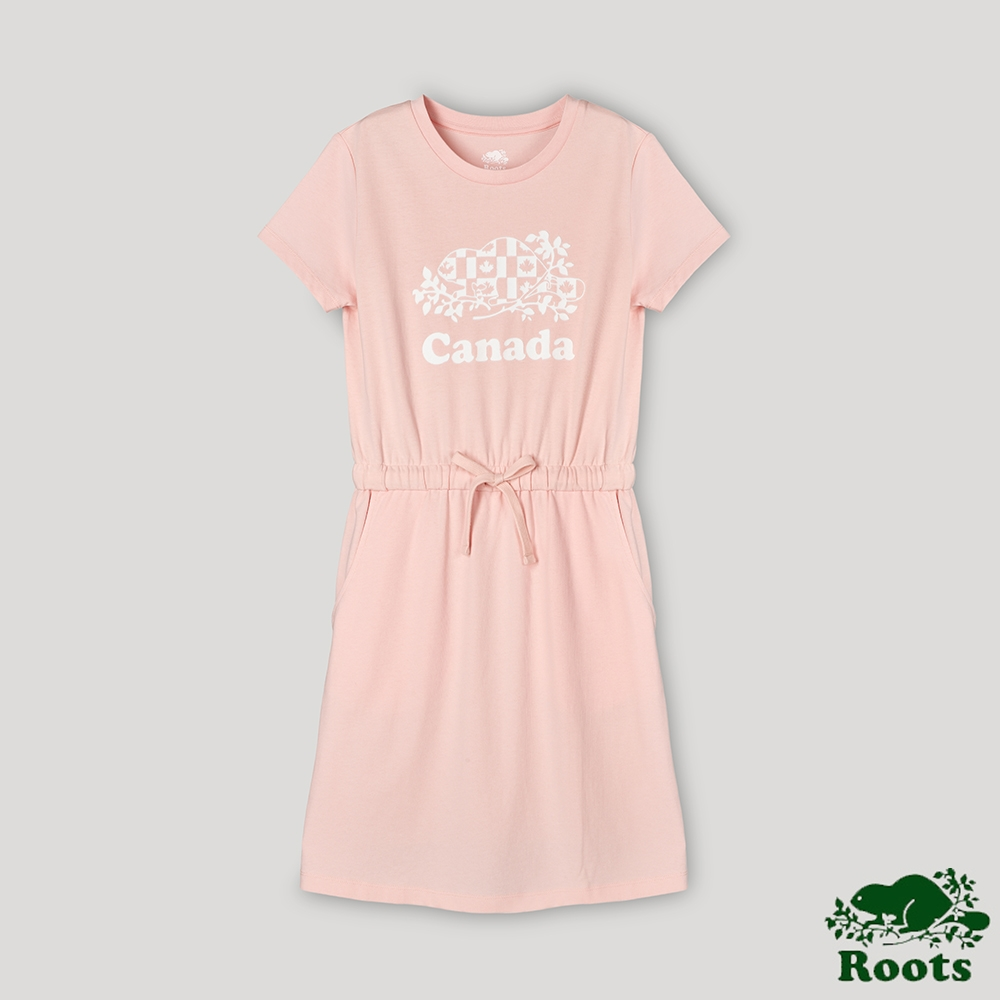 Roots女裝-愛最大加拿大日系列 國旗海狸洋裝-粉色