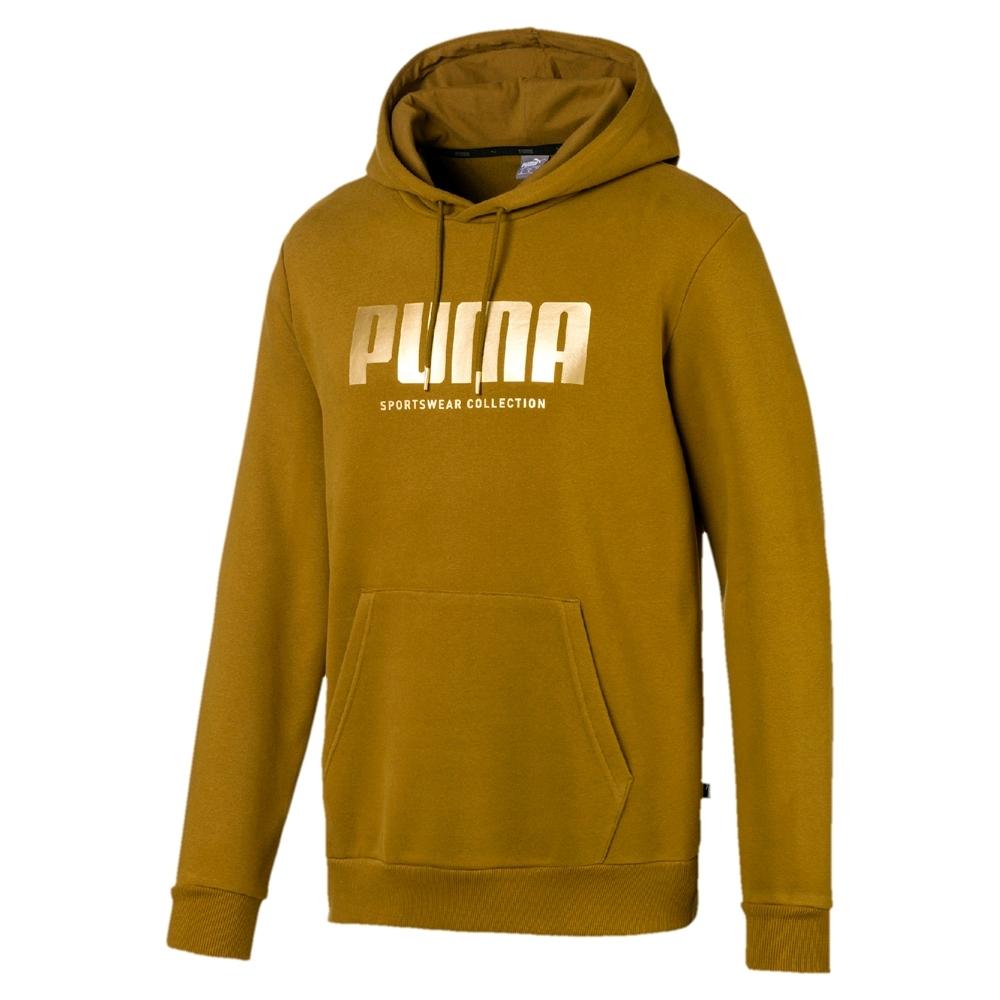 PUMA-男性基本系列Holiday長厚連帽T恤-青苔綠-歐規