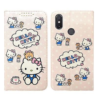 Hello Kitty貓 小米8 粉嫩系列彩繪磁力皮套(小熊)