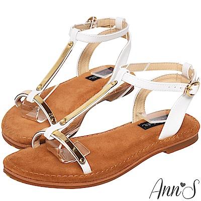 Ann'S水洗牛皮-肌膚打光版T字軟金屬寬版平底涼鞋-白