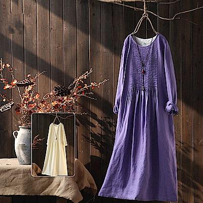 風琴褶皺重磅亞麻襯長洋裝/設計所在Q1708