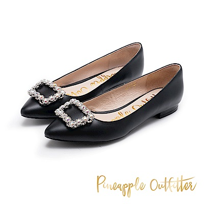Pineapple Outfitter 奢華美型 水鑽方扣真皮低跟鞋-黑色