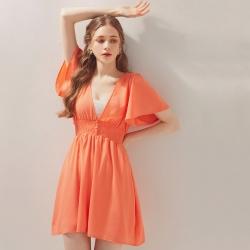 AIR SPACE V領排釦縮腰雪紡短洋裝(粉橘)