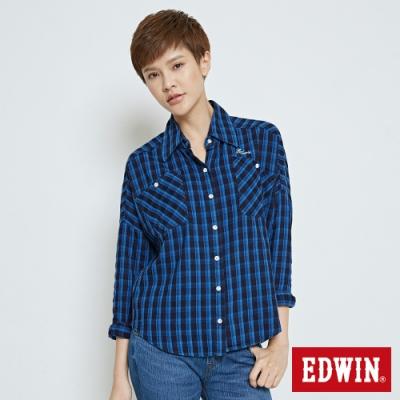 EDWIN INDIGO短版格紋長袖襯衫-女-拔洗藍