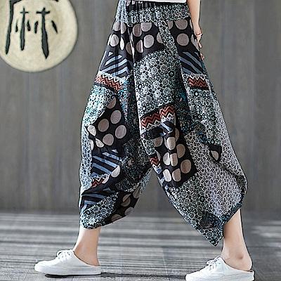 La Belleza幾何玫瑰花圓點棉麻休閒寬褲垂墬感闊腿褲燈籠褲