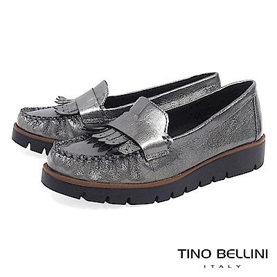 Tino Bellini 巴西進口輕量金屬皮紋莫卡辛鞋 _ 銀