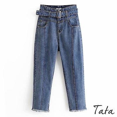 九分高腰哈倫牛仔褲 (附腰帶) TATA