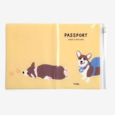 Dailylike 多功能夾鏈袋防水護照套-02柯基犬