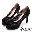 GDC-華麗時尚簍空雕花水鑽波浪魚口高跟鞋-黑色