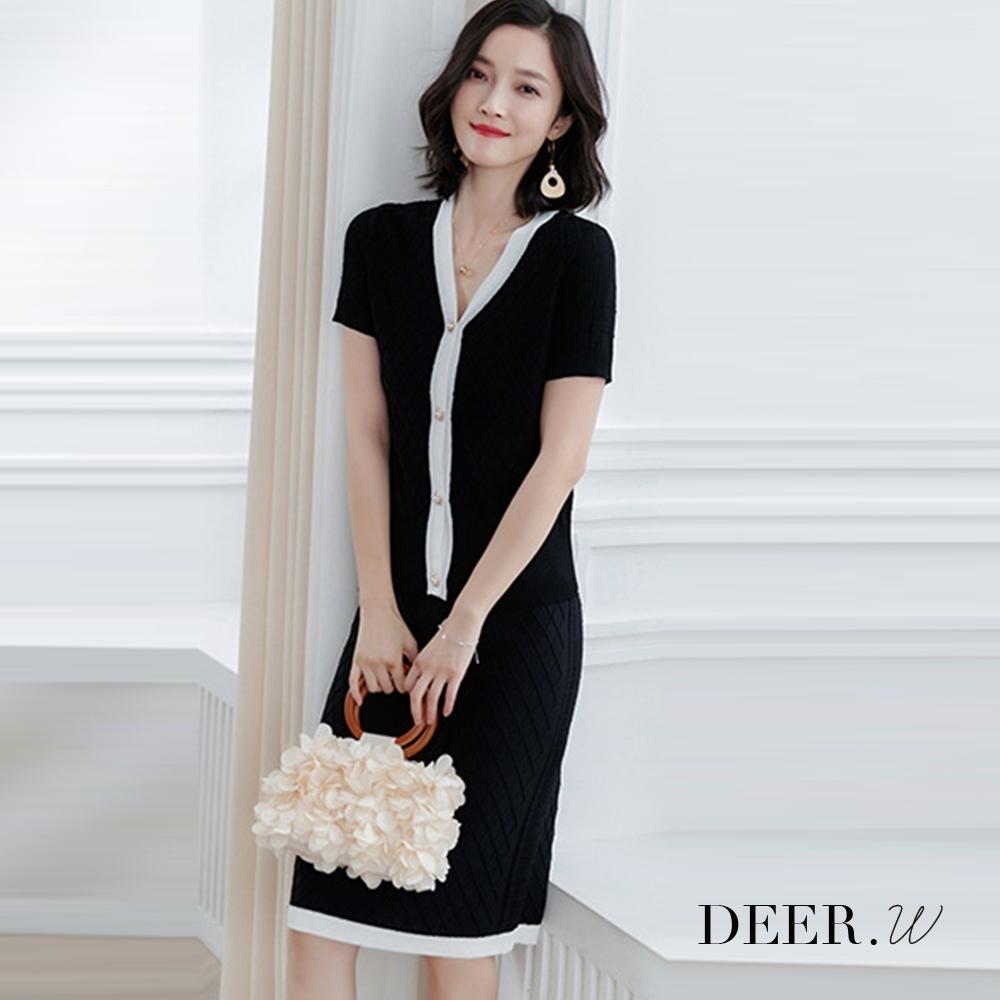 DEER.W  菱格織紋珠釦配色針織套裝(黑)