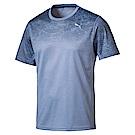 PUMA-男性慢跑系列印花短袖T恤-無限藍-歐規