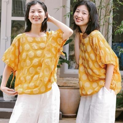 T恤-梭織全棉鹽縮工藝黃色波點上衣短袖寬鬆文藝-設計所在